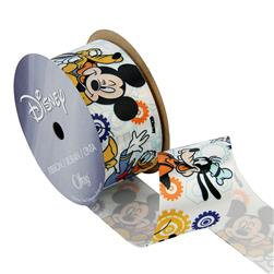 "1 1/2"" Mickey Mouse Ribbon with Friends White"