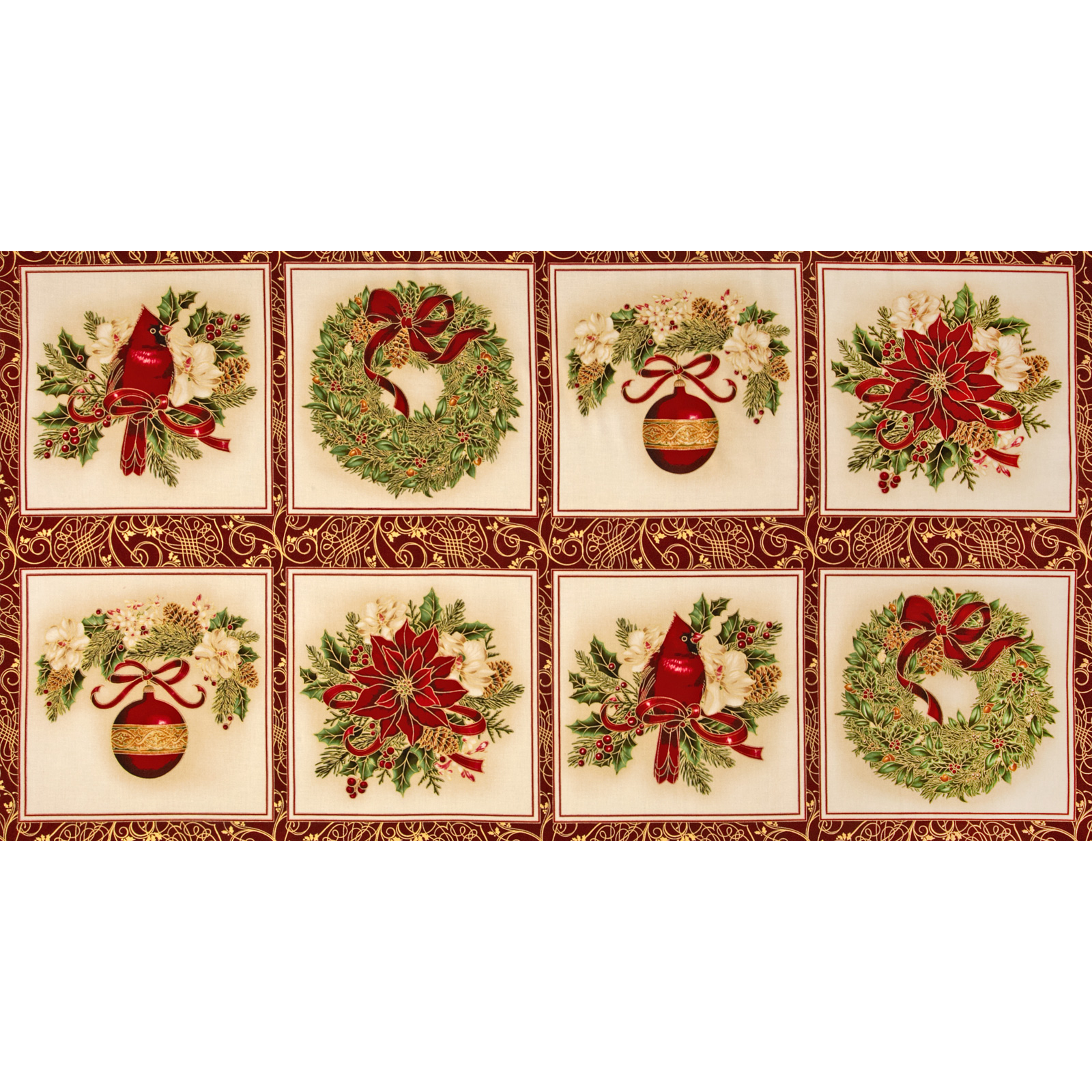 Holiday Flourish 6 Holiday Blocks Panel Metallic Holiday