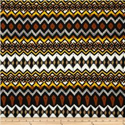 Techno Scuba Knit Tribal Yellow/Grey Fabric