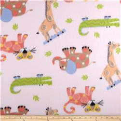 Juvenile Fleece Baby Animals Tan/Coral/Pink/Lt. Blue Fabric