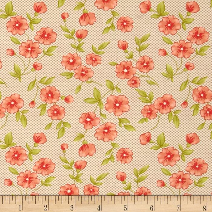 Moda Farmhouse Gingham Blooms Pebble