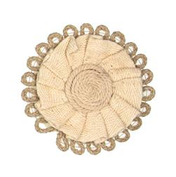 Braided Hemp Loop Round Applique Ivory