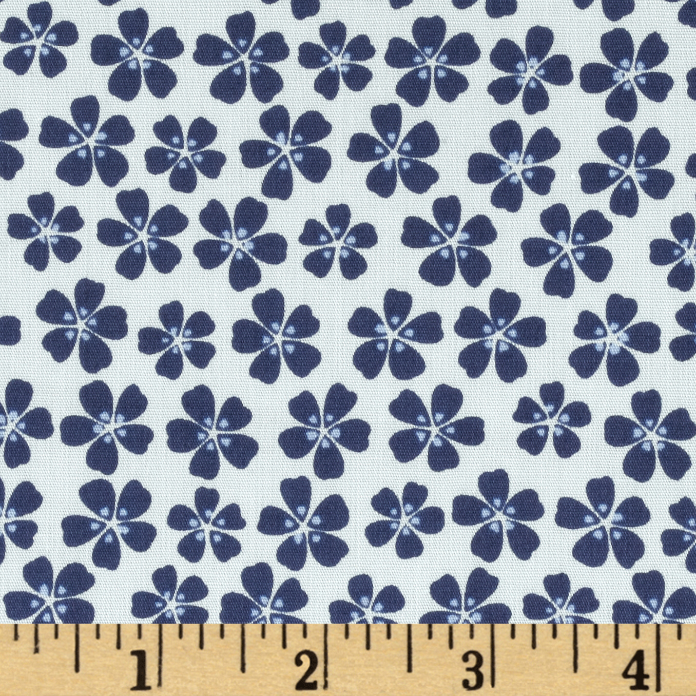 Morocco Blues Stretch Poplin Floral White Fabric
