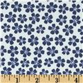 Morocco Blues Stretch Poplin Floral White