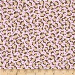 Riley Blake Sweet Baby Girl Flannel Sweet Monkeys Pink