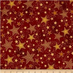 Kaufman Winter Grandeur Metallic Stars Crimson