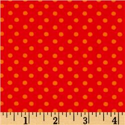 What a Hoot Flannel Dots Orange