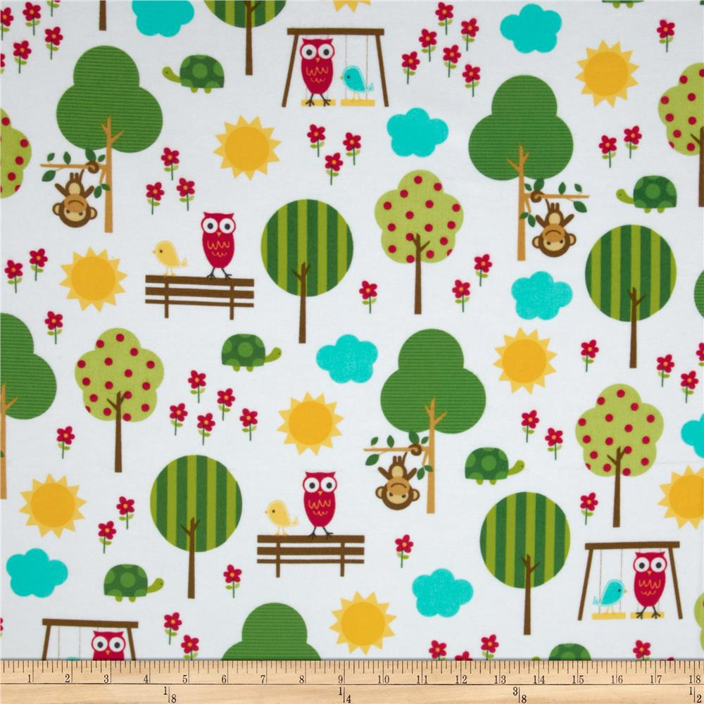 Urban Flotologie Flannel Animals In Trees Sorbet Fabric By The Yard