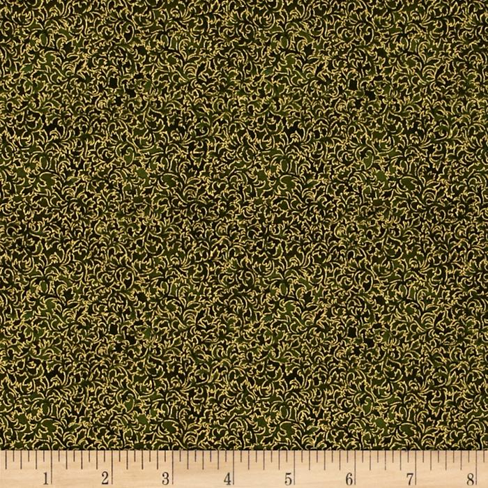 Kaufman Fusions Metallic Small Vines Olive