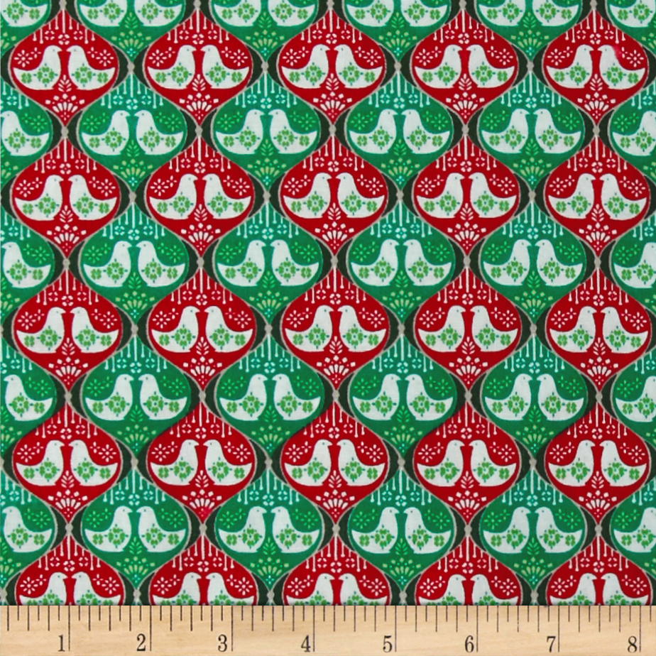 Seasons Greetings Doves Red/Green Fabric by Fabri-Quilt in USA