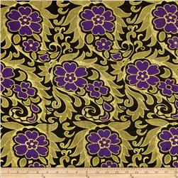 Metallic Brocade Floral Black/Purple