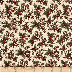 Moda Under the Mistletoe Holly Berries Linen