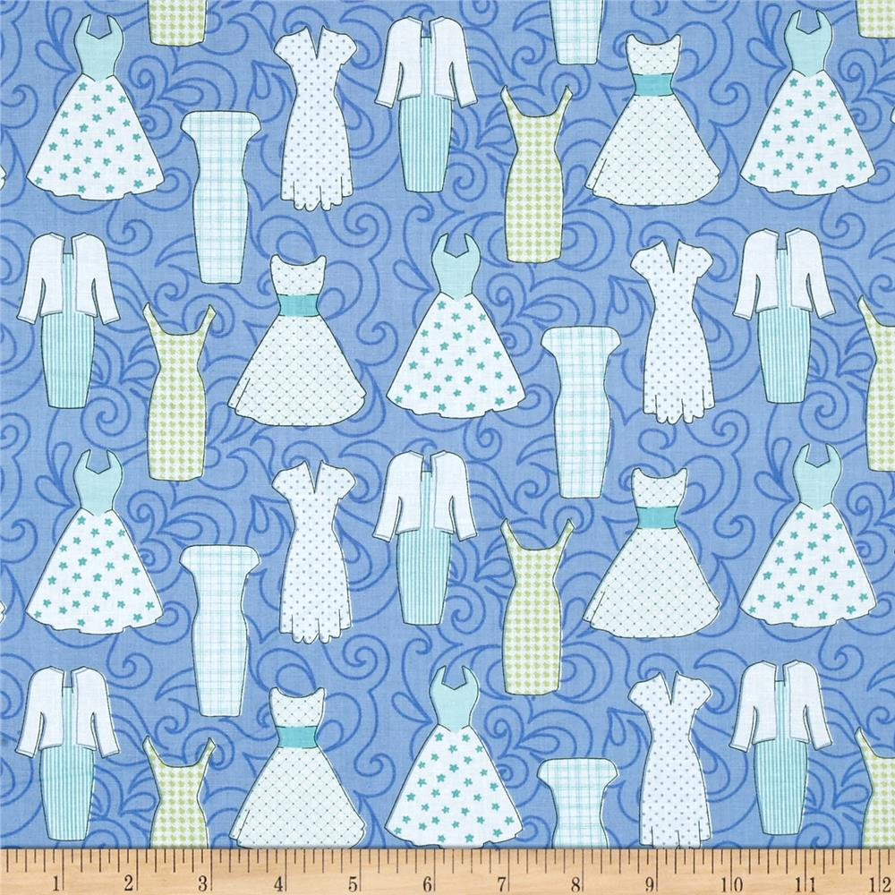 Sewing room dresses peri blue discount designer fabric for Cheap sewing fabric
