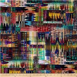 Crystalia Digital Print Abstract Ikat Rainbow