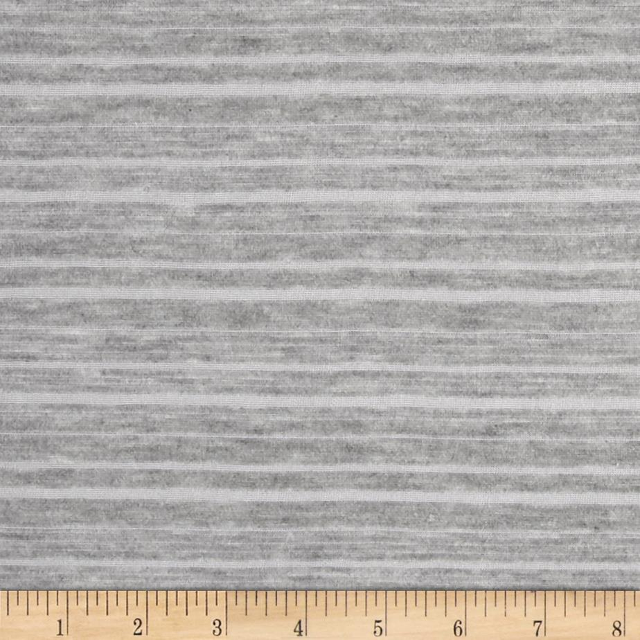 Very Lightweight Jersey Knit Burnout Stripe Grey Fabric By The Yard