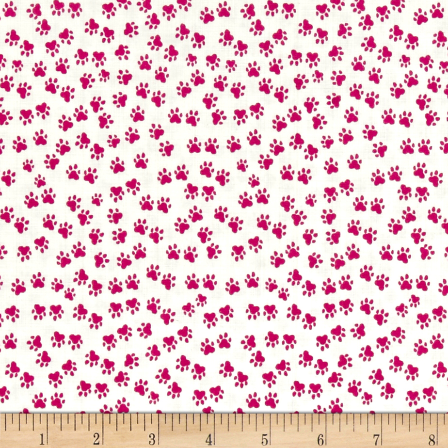 Hot Dogs & Cool Cats Organic Paws Fuchsia Fabric