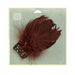 Disco Feather Brooch 2-1/2'' x 5'' Brown