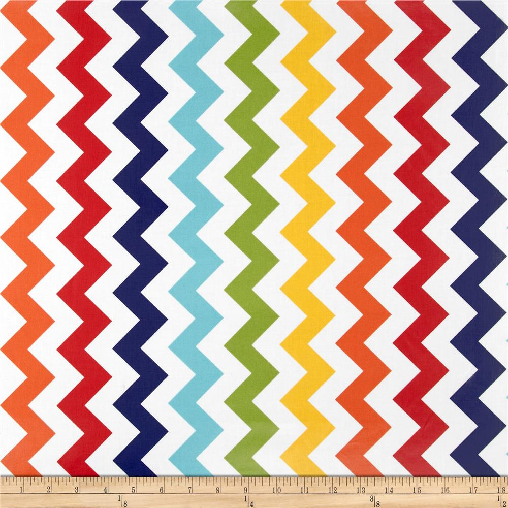 Riley Blake Laminated Cotton Medium Chevron Rainbow