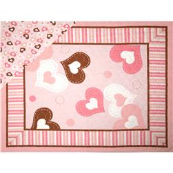 "Double Sided Quilted 36"" Heart Panel  Multi"