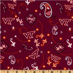 Collegiate Cotton Broadcloth Virginia Tech Bandana Maroon Fabric