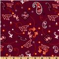 Collegiate Cotton Broadcloth Virginia Tech University Bandana Maroon