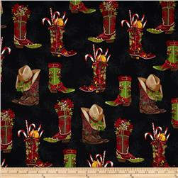 Robert Kaufman Holly Jolly Christmas Cowboy Boots Black