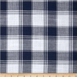 Yarn Dyed Plaid Shirting Blue/White Fabric