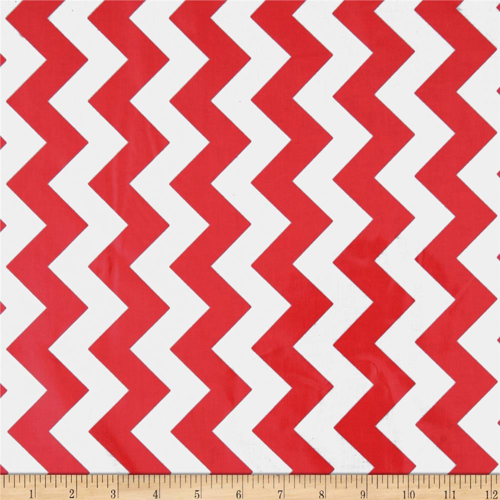 Riley Blake Laminated Cotton Medium Chevron Red