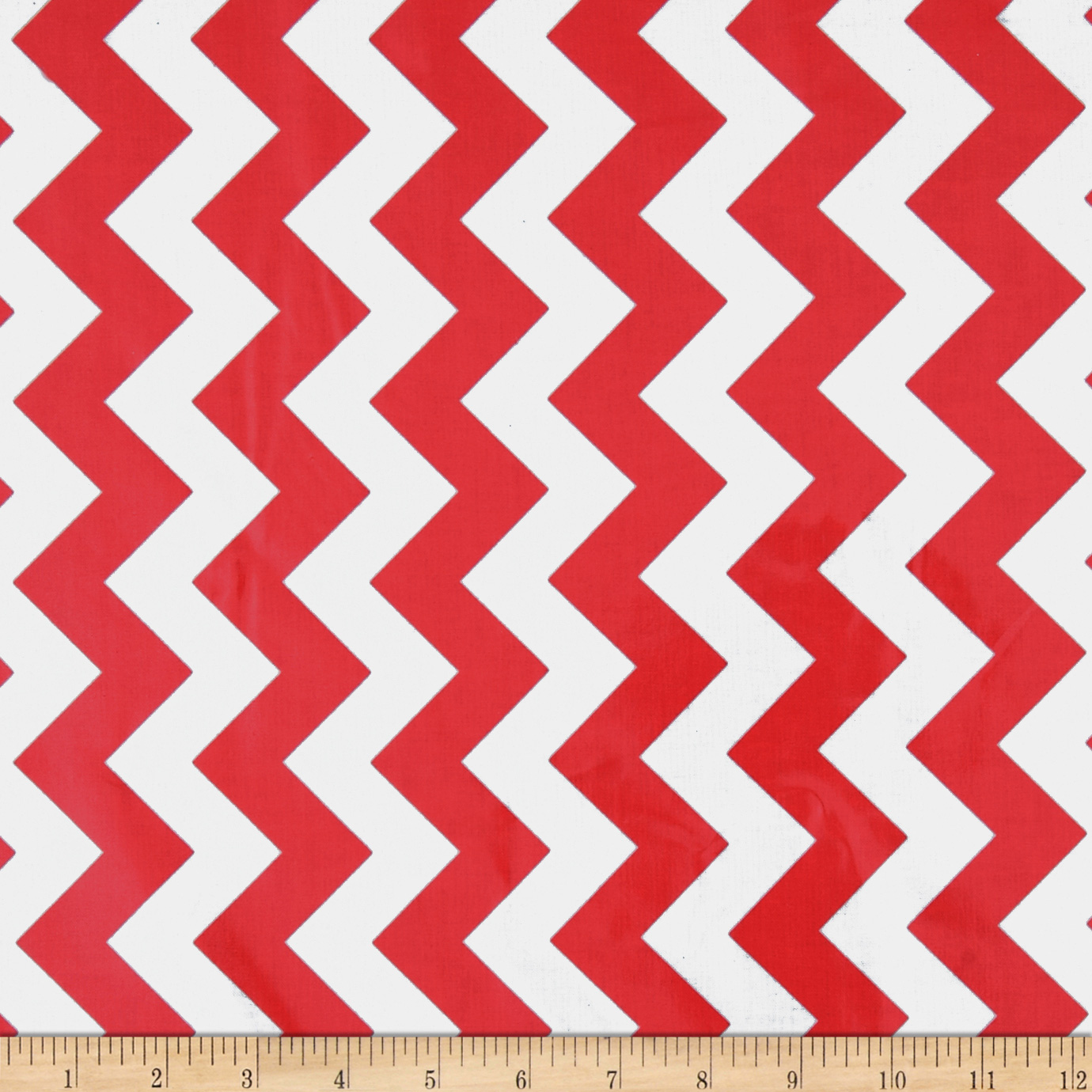 Riley Blake Laminated Cotton Medium Chevron Red Fabric