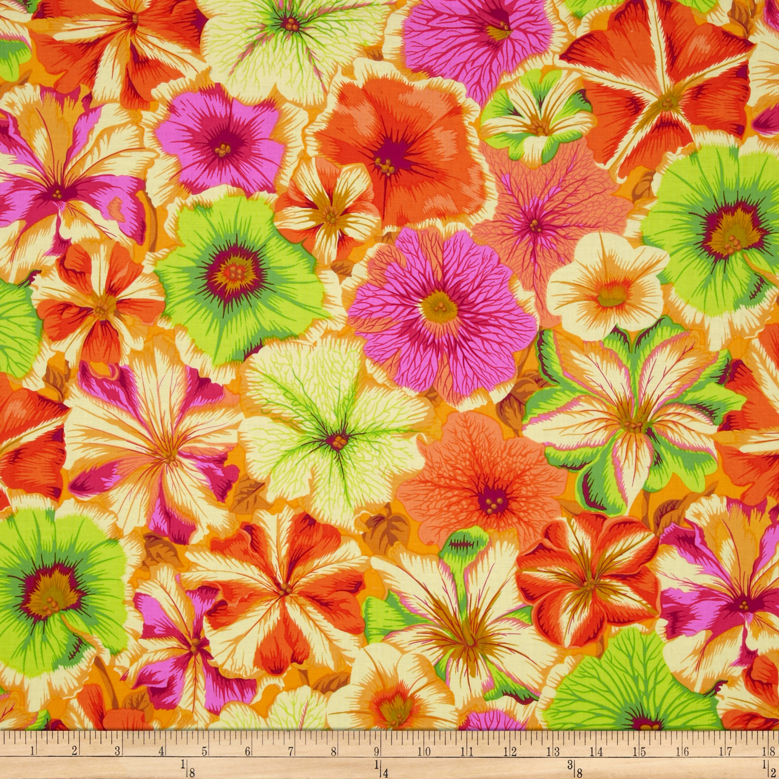 Kaffe Fassett Petunias Orange Fabric