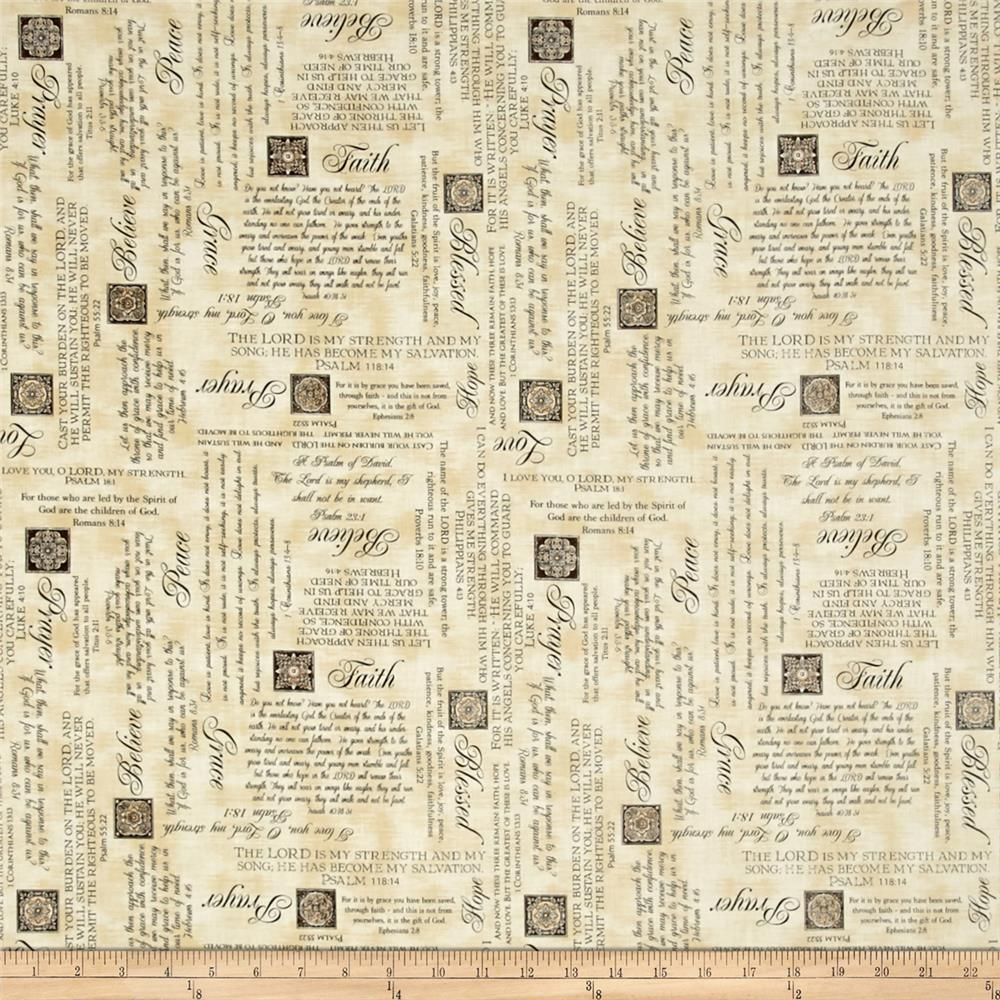 Heavenly Psalms Parchment Fabric By The Yard