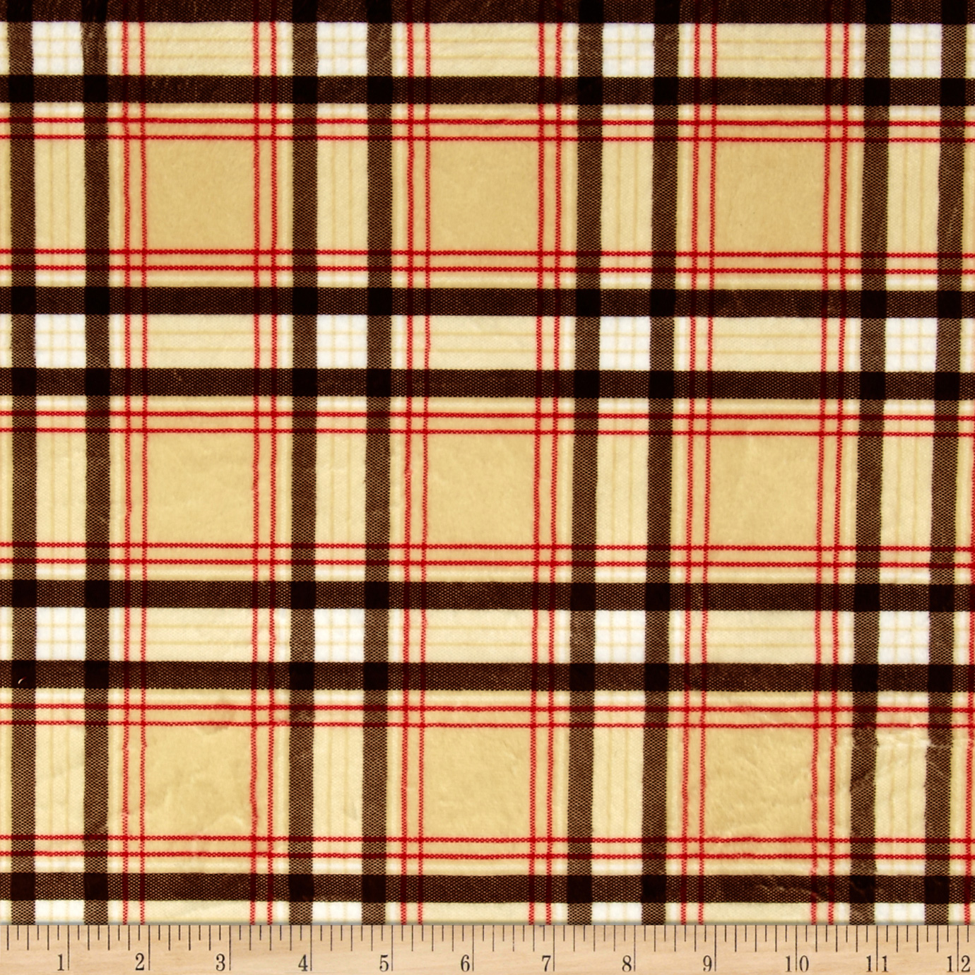 Minky New Plaid Tan Fabric