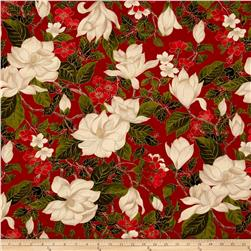 Moda Magnolia Metallics Magnolia & Holly Crimson