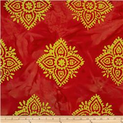 Indian Batiks Large Medallion Dark Coral
