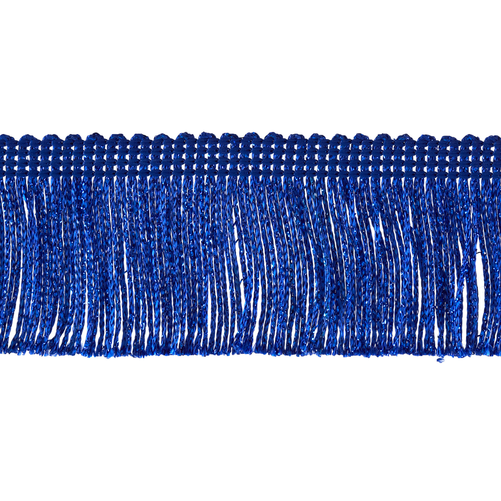 2'' Metallic Chainette Fringe Trim Royal Blue Fabric