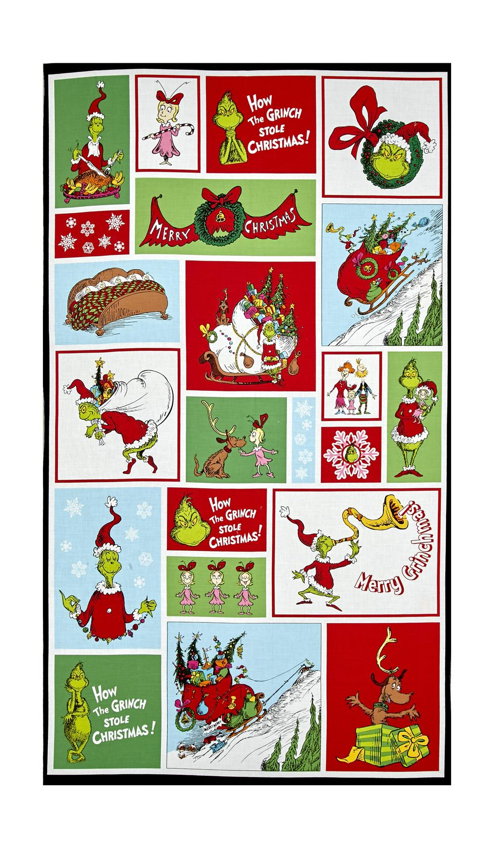 """Kaufman How The Grinch Stole Christmas Block 24"""" Panel Holiday"""