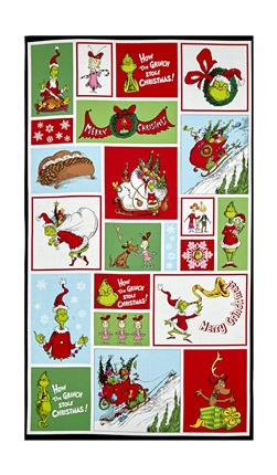 "Kaufman How The Grinch Stole Christmas Block 24"" Panel Holiday"