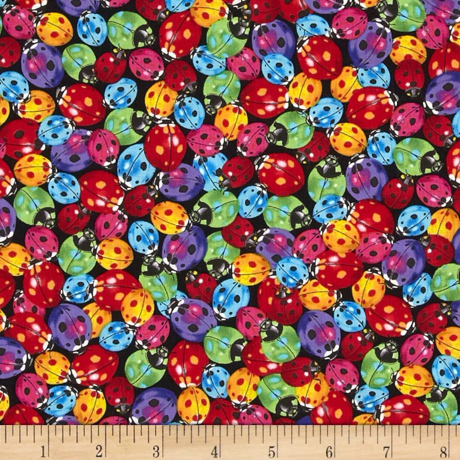 Timeless Treasures Packed Ladybugs Multi