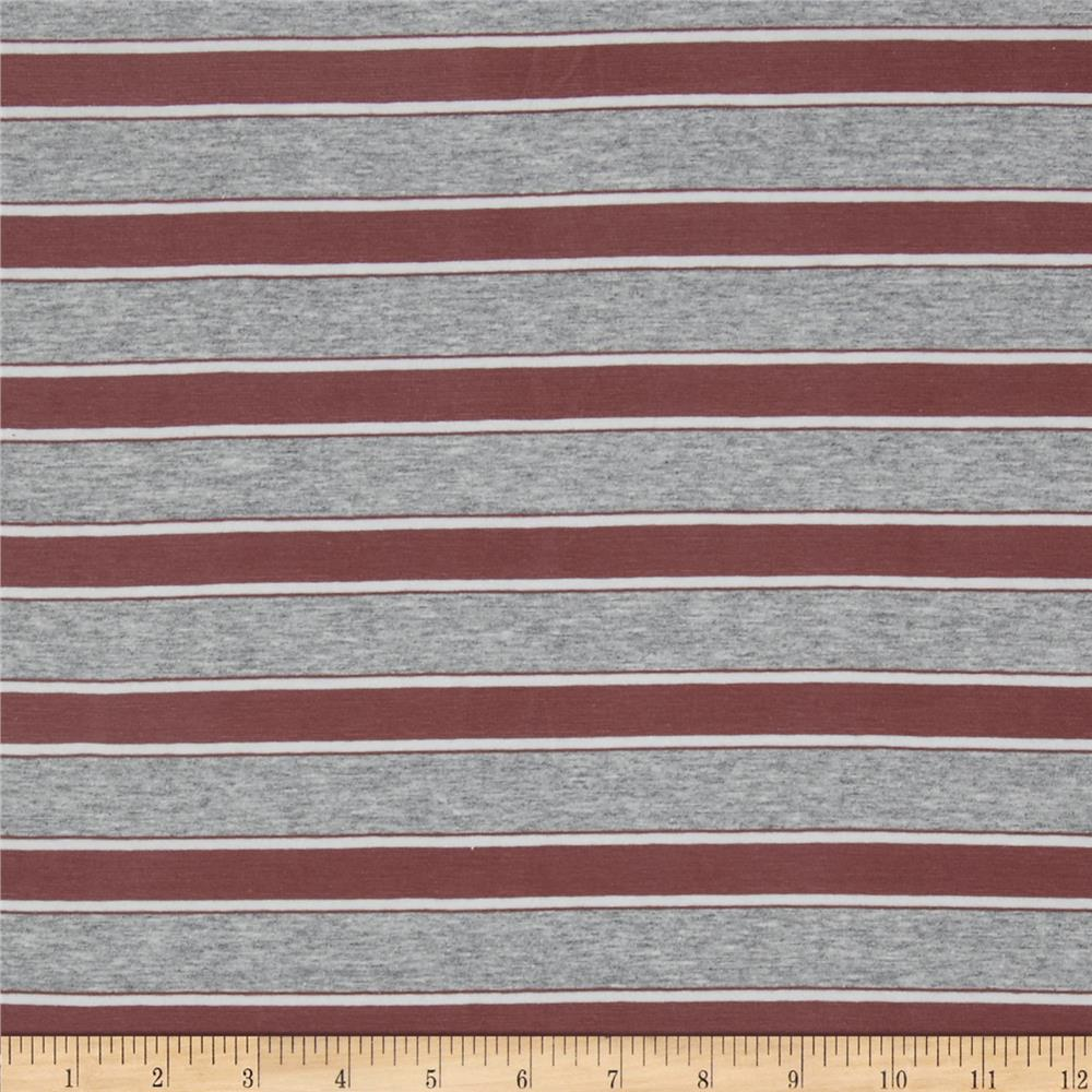 Stretch Cotton Jersey Stripe Mauve/Grey