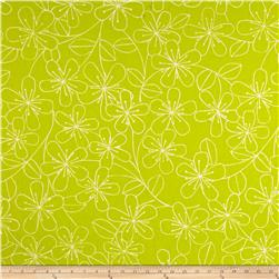 Kaufman Sevenberry Canvas Cotton Flax Prints Etched Flowers Lime