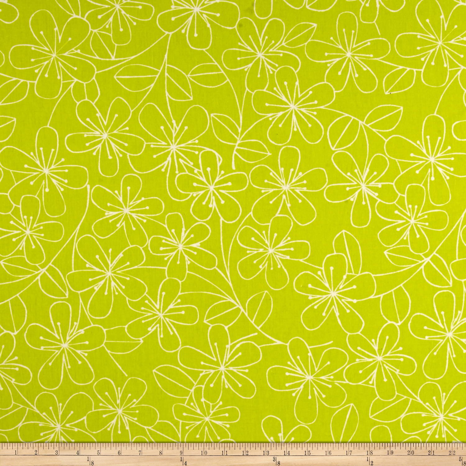 Kaufman Sevenberry Canvas Cotton Flax Prints Etched Flowers Lime Fabric by Kaufman in USA