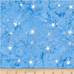 Island Batik Tinsel Metallic Star Swirl Blue