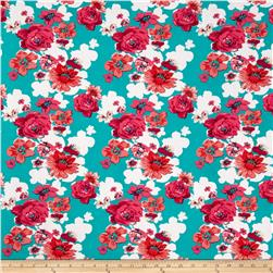 Stretch ITY Knit Magenta/Orange Roses on Aqua