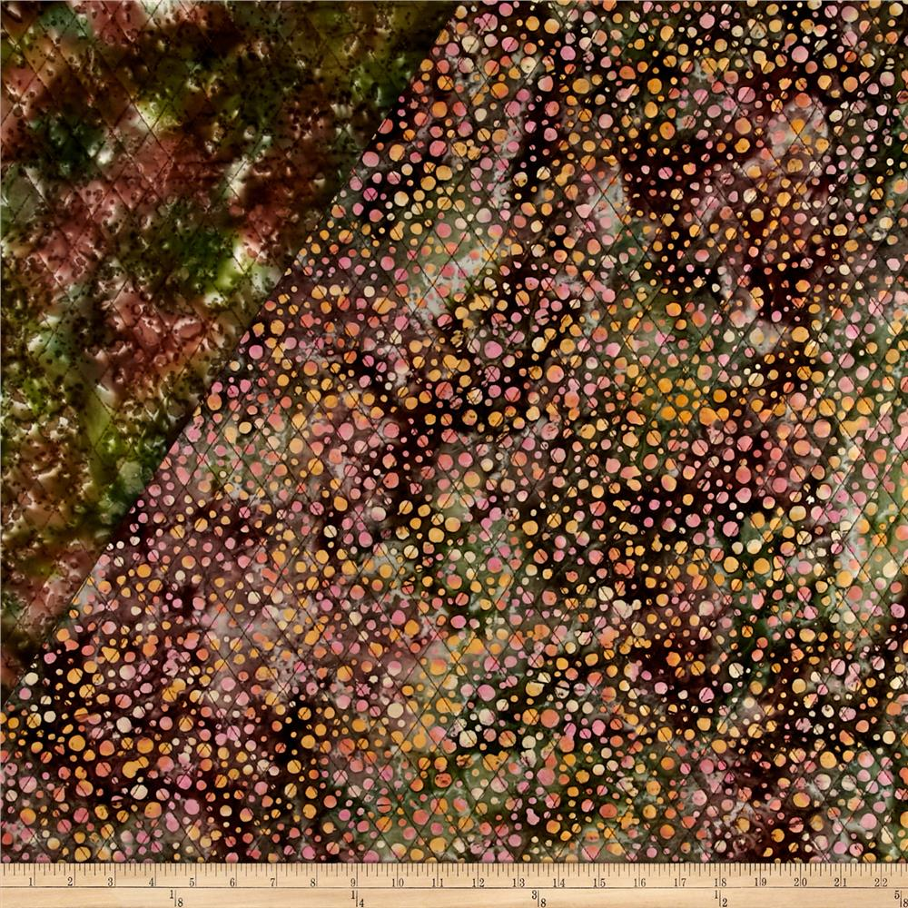 Indian Batik Double Face Quilted Dots Orange Pink Green