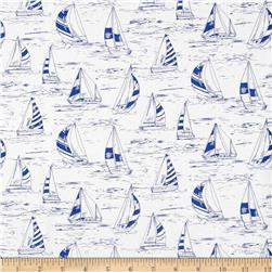 Timeless Treasures Seaside Sailboats White