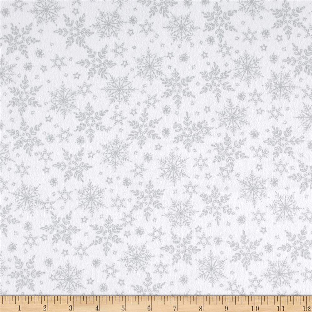 Holiday Frost Flannel Tonal Snowflake White