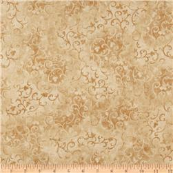 "108"" Wide Essential Scroll Quilt Backing Quilt Tan"