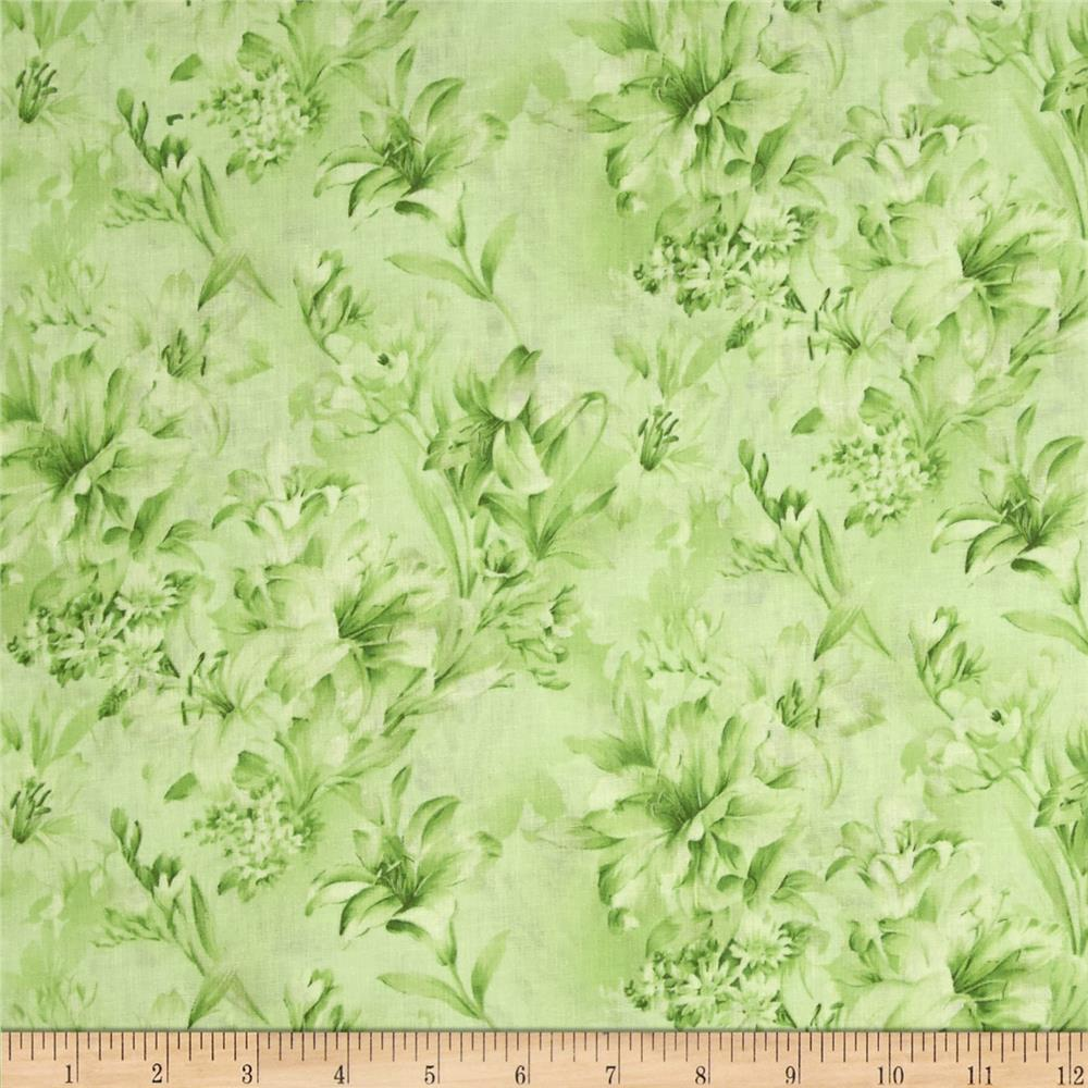 "Day Lily 118"" Wide Quilt Backs Floral Green"