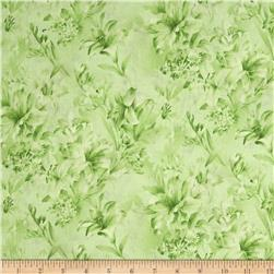 "118"" Wide Day Lily Quilt Backing Floral Green"