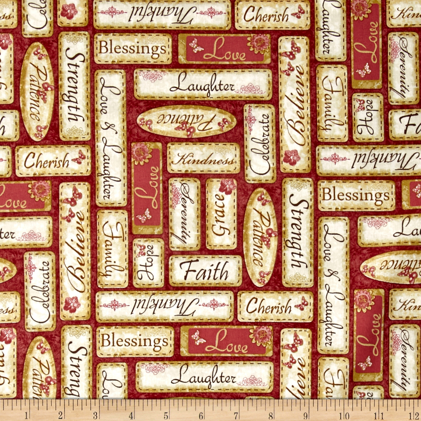 Simple Pleasures Words Red Fabric by Stardom Specialty in USA